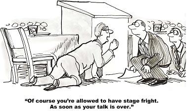 Det finns många hinder som gör det svårt för oss när vi presenterar vårt budskap. 90 % av alla som talar inför en grupp blir mer eller mindre nervösa.